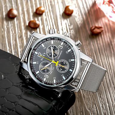 Homens Relógio de Pulso Quartzo Relógio Casual Aço Inoxidável Banda Amuleto Branco