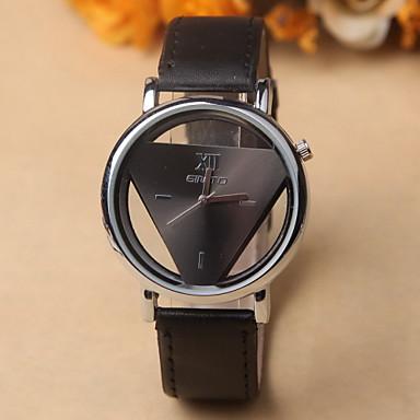 Dames Modieus horloge Kwarts Hol Gegraveerd Leer Band Vintage Zwart Wit