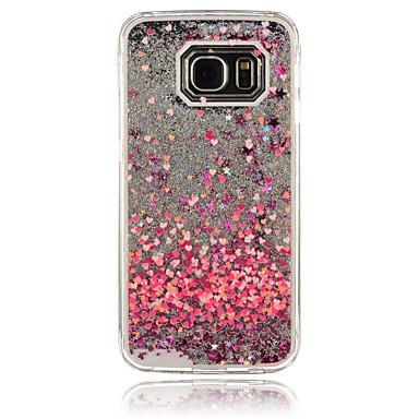 Недорогие Чехлы и кейсы для Galaxy S6-Кейс для Назначение SSamsung Galaxy S6 edge / S6 / S5 Движущаяся жидкость Кейс на заднюю панель С сердцем ПК