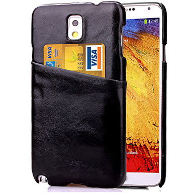 Para Samsung Galaxy Note Porta-Cartão Capinha Capa Traseira Capinha Cor Única Couro PU Samsung Note 5 / Note 4 / Note 3
