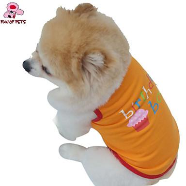 Gato Cachorro Fantasias Camiseta Roupa Roupas para Cães Fantasias Aniversário Férias Casamento Fashion Carta e Número Laranja Roxo
