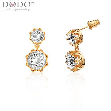 Brincos Curtos Cristal Pedras dos signos Cristal Formato Coroa Jóias Para Casamento Festa Diário Casual 1peça