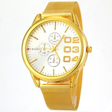 JUBAOLI Masculino Relógio de Pulso Relógio Casual Quartzo Aço Inoxidável Banda Dourada