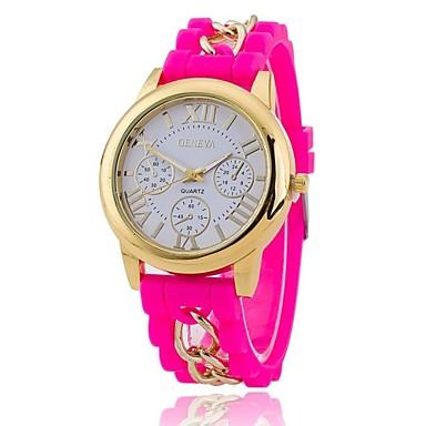 Dames Vrijetijdshorloge Modieus horloge Kwarts Silicone Band Zwart Blauw Orange Groen