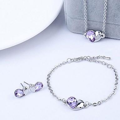 Mulheres Cristal Conjunto de jóias - Cristal Incluir Rosa / Verde / Azul Para Casamento / Festa / Aniversário / Brincos / Colares / Bracelete