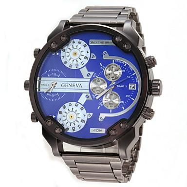 Homens Relógio de Pulso Relógio Militar Quartzo Calendário Dois Fusos Horários Aço Inoxidável Banda Preta