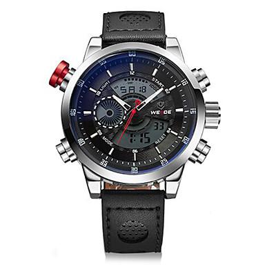 저렴한 남성용 시계-WEIDE 남성용 손목 시계 디지털 시계 석영 디지털 가죽 블랙 30 m 방수 알람 달력 아날로그-디지털 참 - 실버 / 블랙 화이트 / 실버 / 스테인레스 스틸 / 크로노그래프 / LCD / 듀얼 타임 존