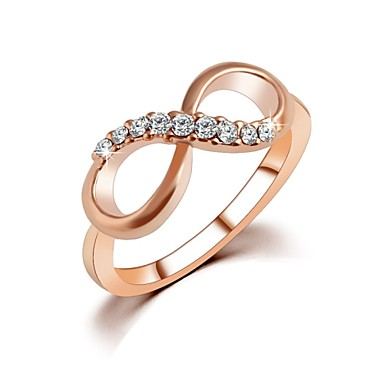 d882b1ff0e1e Women s Cubic Zirconia Double Ring Zircon Gold Plated Rose Gold Plated  Infinity Ladies Simple Designer Ring
