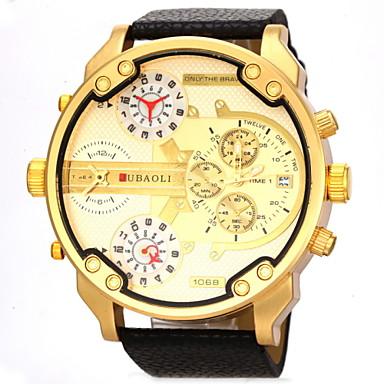 JUBAOLI Masculino Relógio Militar Relógio de Pulso Quartzo Calendário Dois Fusos Horários Couro Banda Preta Branco LaranjaBranco Laranja