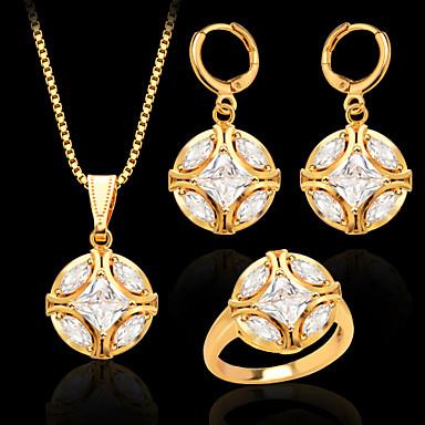 Dames Sieraden Set Bruiloft Feest Dagelijks Causaal Sport Kristal Verguld Gesimuleerde diamant Bal Ringen Oorbellen Kettingen