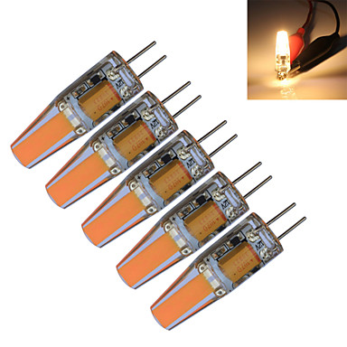 5pçs 3000-3200/6000-6500 lm G4 Luzes de LED em Vela T 1 leds COB Decorativa Branco Quente Branco Frio AC 12V DC 12V