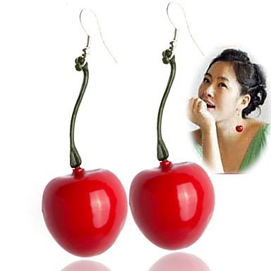 Mulheres Brincos Compridos - Vermelho Escuro Brincos Para Diário Casual