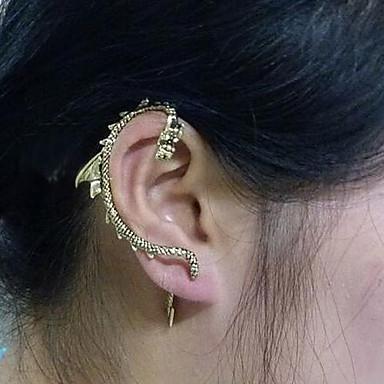 Mulheres Dragão Zircônia Cubica Punhos da orelha - Dourado Brincos Para