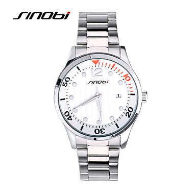 SINOBI Masculino Relógio Esportivo Relógio de Pulso Calendário Impermeável Relógio Esportivo Quartzo Lega Banda Prata