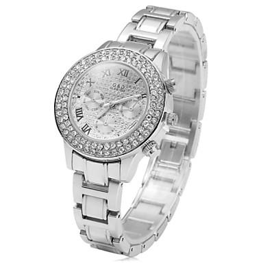 Dames Modieus horloge Kwarts imitatie Diamond Roestvrij staal Band Zilver Goud