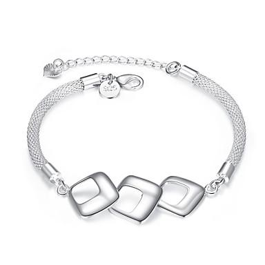 Dames Armbanden met ketting en sluiting PERSGepersonaliseerd Koper Verzilverd Geometrische vorm Zilver Sieraden VoorFeest Dagelijks