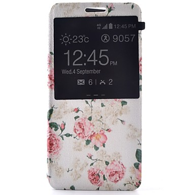 hoesje Voor Samsung Galaxy Samsung Galaxy hoesje met standaard met venster Flip Volledige behuizing Bloem PU-leer voor A7(2016) A5(2016)