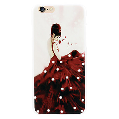 rode rokken vrouwen diamant telefoon shell geschilderde reliëfs aanvragen iphone6 puls | 6s puls