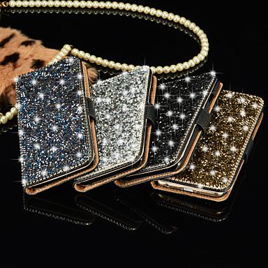 luxe glimmende diamant vol pu lederen case cover met veilig gesp mobiele telefoon bling case voor de iPhone 5 / 5s (assorti kleur)