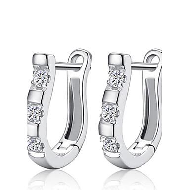 Mulheres Cristal Prata de Lei Strass Prateado Brincos Curtos - Fashion Prata Brincos Para Casamento Festa Diário