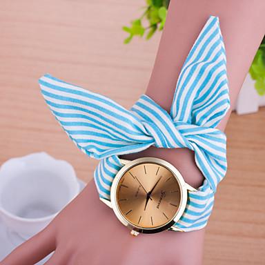 Dames Armbandhorloge Modieus horloge Kwarts Stof Band Strepen Zwart Blauw Roze roze