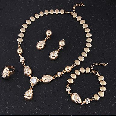 Conjunto de jóias - Zircônia Cubica Vintage, Festa, Corrente Incluir Conjuntos de anéis Dourado Para / Brincos / Colares