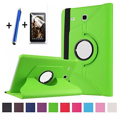 voordelige Samsung Tab-serie hoesjes / covers-hoesje Voor Samsung Galaxy Tab E 9.6 360° rotatie / met standaard / Flip Volledig hoesje Effen Hard PU-nahka