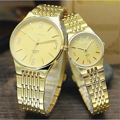 Heren Dames Voor Stel Dress horloge Kwarts Vrijetijdshorloge Legering Band Zilver Goud