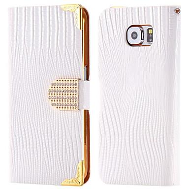 Capinha Para Samsung Galaxy Porta-Cartão Com Strass Com Suporte Flip Capa Proteção Completa Côr Sólida Rígida PU Leather para Note 5 Note