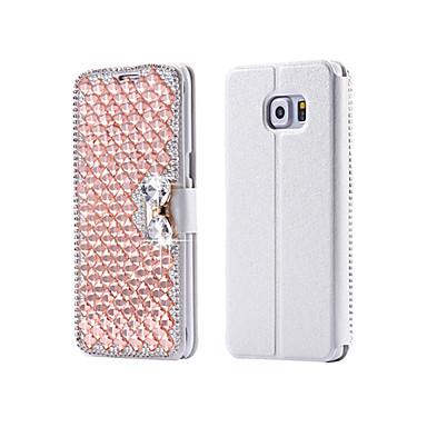 cristal bling do luxo& diamante pu bolsa de couro da aleta para Samsung Galaxy S3 / S4 / S5 / S6 / s6e / S7 / s6e mais