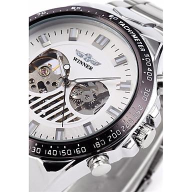 WINNER Homens relógio mecânico Relógio de Pulso Automático - da corda automáticamente Gravação Oca Aço Inoxidável Banda Luxo Prata