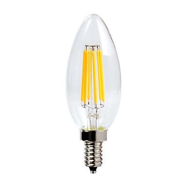 E12 LED 캔들 조명 C35 6 LED가 COB 방수 밝기조절가능 따뜻한 화이트 600lm 2700K AC 110-130V