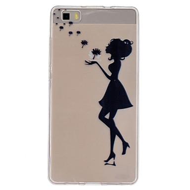 Mert Huawei tok / P8 Lite Átlátszó Case Hátlap Case Szexi lány Puha TPU Huawei Huawei P8 Lite