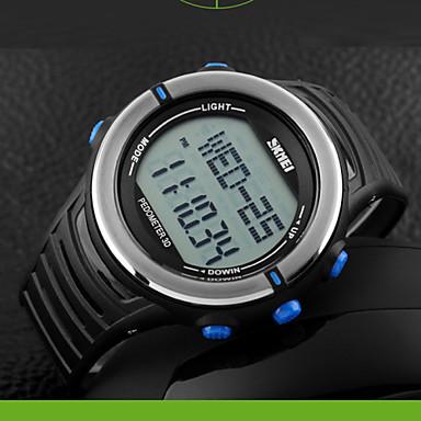Homens Relógio Esportivo Relogio digital Digital LCD Pulsômetro Calendário Cronógrafo Impermeável Dois Fusos Horários Relógio Esportivo PU