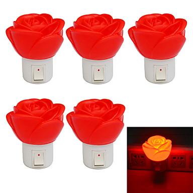 jiawen 1w rózsa alakú 80lm piros led kis éjszakai fény (5db / AC 220)