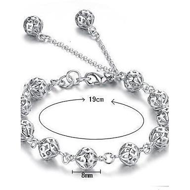 Dam Kedje & Länk Armband Berlock Armband - Sterlingsilver damer Armband Smycken Vit Till Julklappar Bröllop Party Dagligen Casual Maskerad