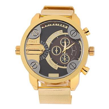 Masculino Relógio de Pulso Quartzo Dois Fusos Horários Aço Inoxidável Banda Dourada Branco Preto
