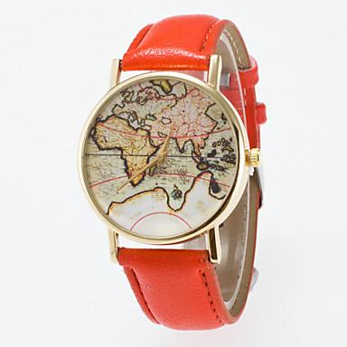 Mulheres Relógio de Moda Quartzo Venda imperdível PU Banda Vintage Padrão Mapa do Mundo Preta Azul Vermelho Laranja Marrom Verde Rosa