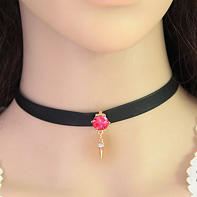 Női Divat Európai Rövid nyakláncok Gallér Bőr Csipke Hamis gyémánt Rövid nyakláncok Gallér , Parti Napi Hétköznapi