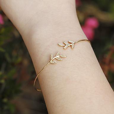 Femme Manchettes Bracelets - Forme de Feuille Européen, Style Simple, Mode Bracelet Argent / Doré Pour Regalos de Navidad / Quotidien / Décontracté