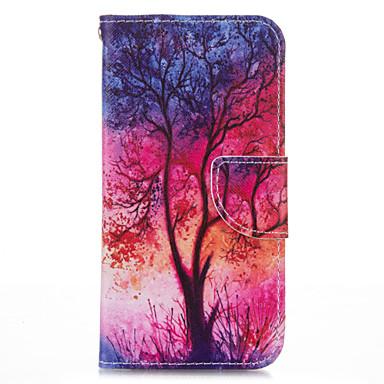 Mert iPhone 5 tok Pénztárca / Kártyatartó / Állvánnyal / Flip / Minta Case Teljes védelem Case Fa Kemény Műbőr iPhone SE/5s/5