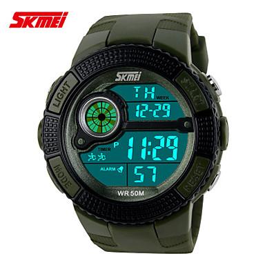 Masculino Relógio Esportivo Relogio digital LCD Calendário Cronógrafo Impermeável Dois Fusos Horários Relógio Esportivo Digital Banda