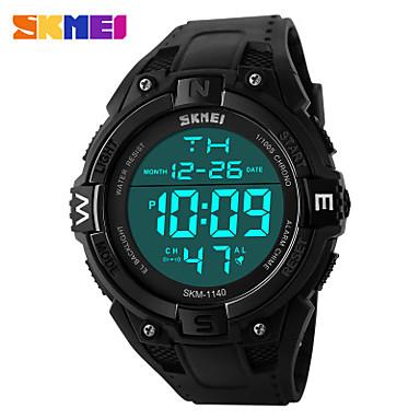 Homens Relógio Esportivo Digital LCD Calendário Cronógrafo Impermeável Dois Fusos Horários Relógio Esportivo PU Banda