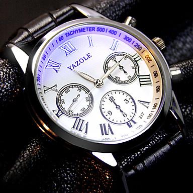 YAZOLE 남성용 석영 손목 시계 캐쥬얼 시계 가죽 밴드 참 블랙 브라운