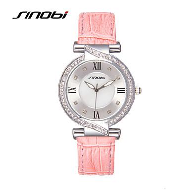 SINOBI Női Divatos óra Alkalmi óra Kvarc Vízálló utánzat Diamond Bőr Zenekar Pink Rózsaszín