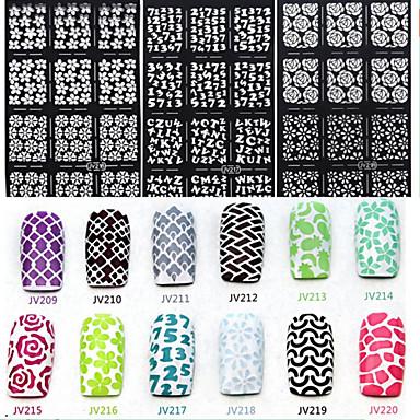 6 Nagelkunst sticker Diecut manicure stencil 3D Nagelstickers Abstract make-up Cosmetische Nagelkunst ontwerp