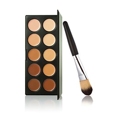새로운 10 색 윤곽 얼굴 크림 메이크업 컨실러 팔레트 + 파우더 브러쉬