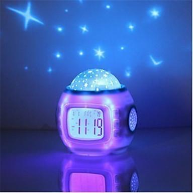 1pc 음악 별이 빛나는 별 하늘 디지털 시계 led 프로젝터 알람 시계 달력 밤 빛 색상 변경