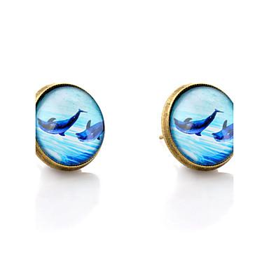 Beszúrós fülbevalók minimalista stílusú Szintetikus drágakövek Üveg Ötvözet Delfin Állat Ékszerek Esküvő Parti Napi Hétköznapi