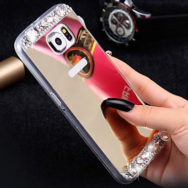 Capinha Para Samsung Galaxy Samsung Galaxy Capinhas Com Strass Espelho Capa Traseira Glitter Brilhante TPU para S7 edge S7 S6 edge plus